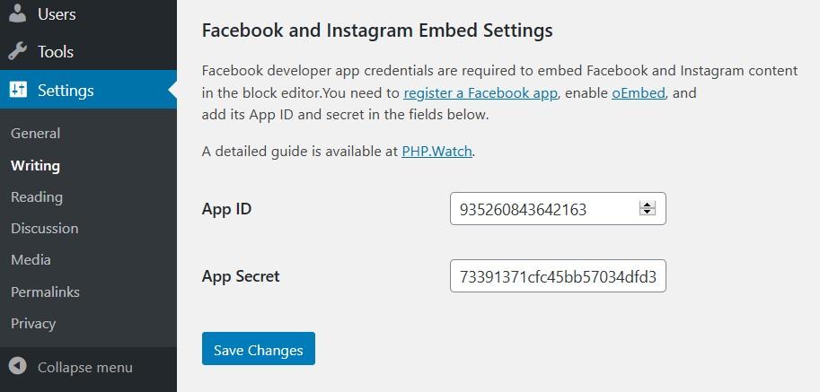 Admin page to enter Facebook API keys