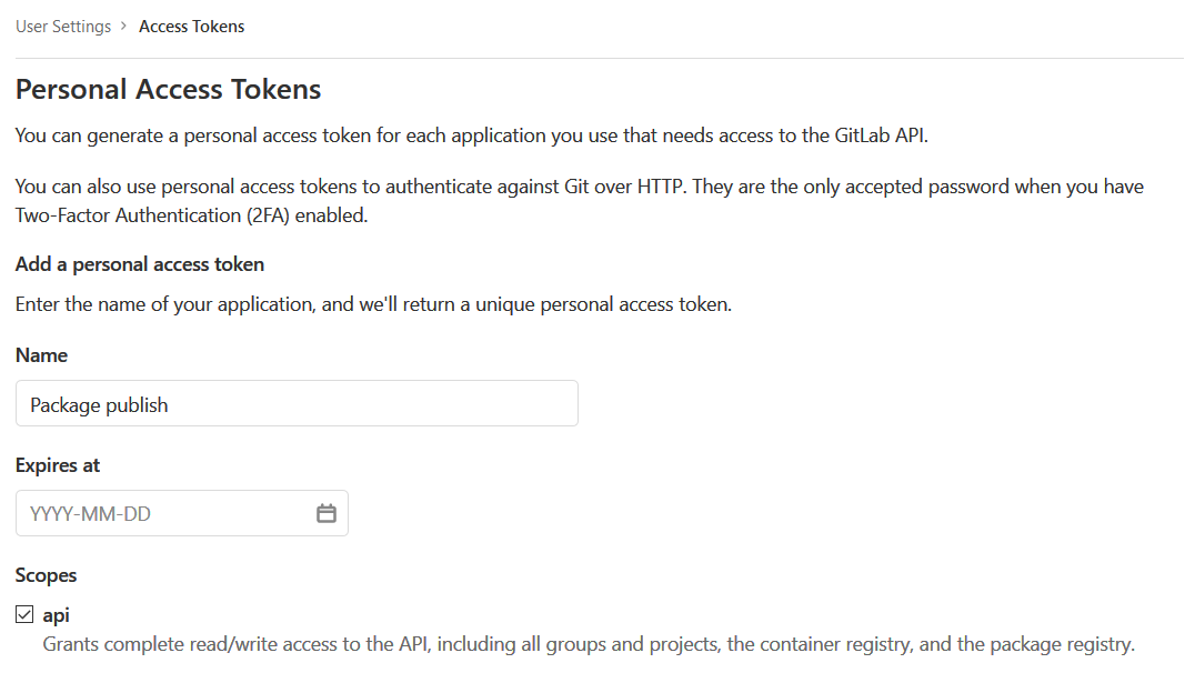 Create a Personal Access Token