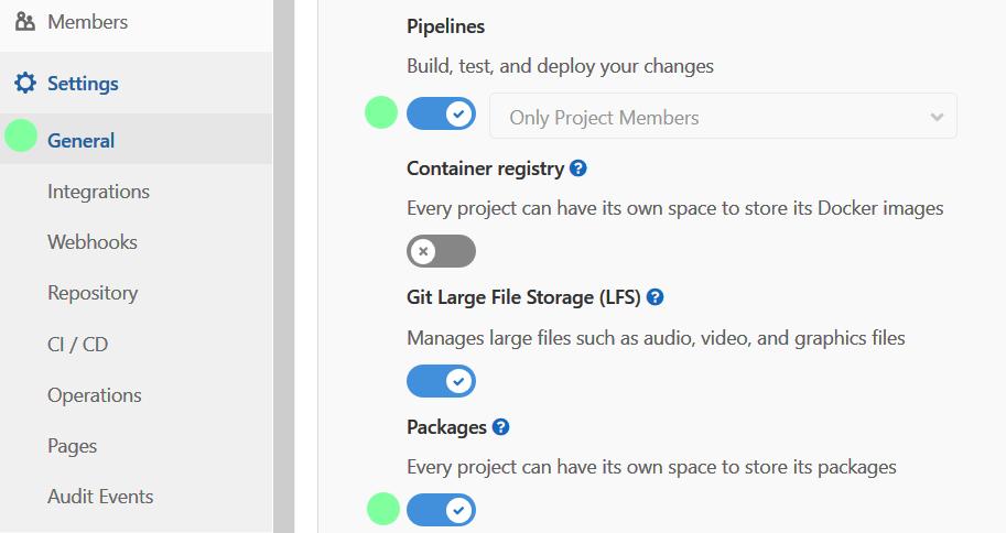 Enable Packages feature in GitLab package registry