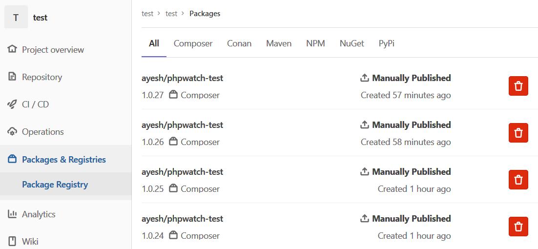 Packages Registry - Listing
