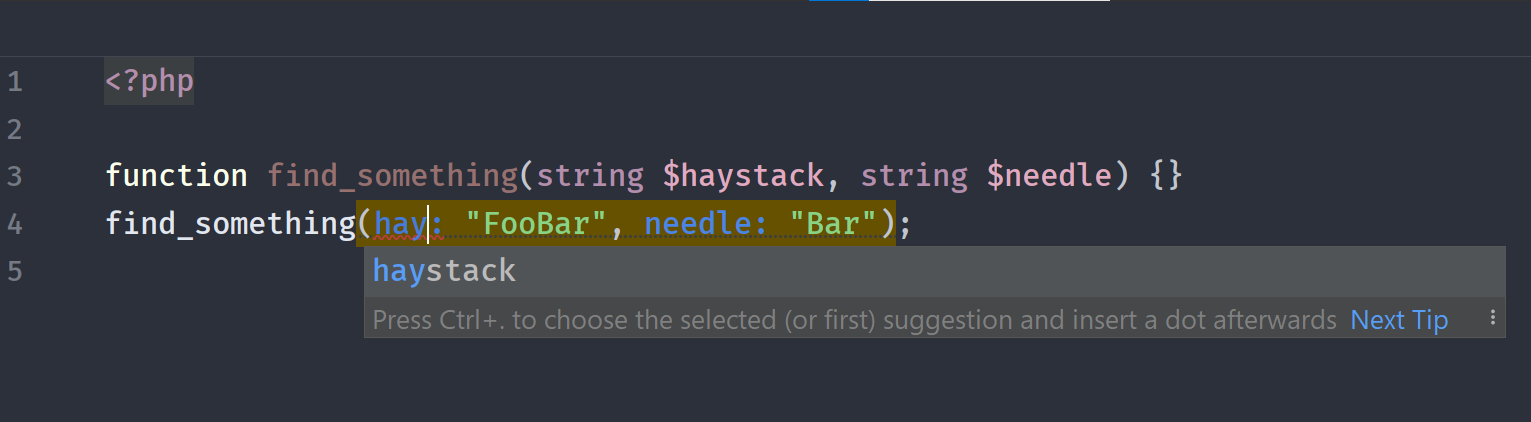 Named parameters in PHPStorm 2020.3