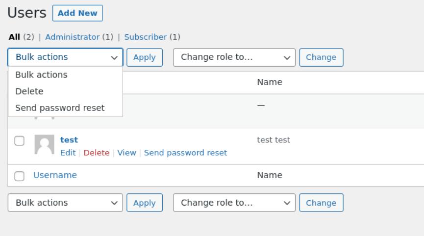 WordPress 5.7 - User Password bulk reset
