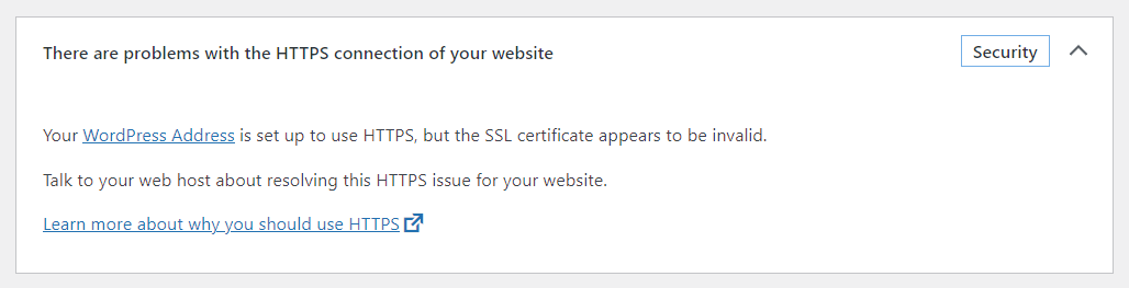 WordPress 5.7 - There are problems with the HTTPS connection of your website