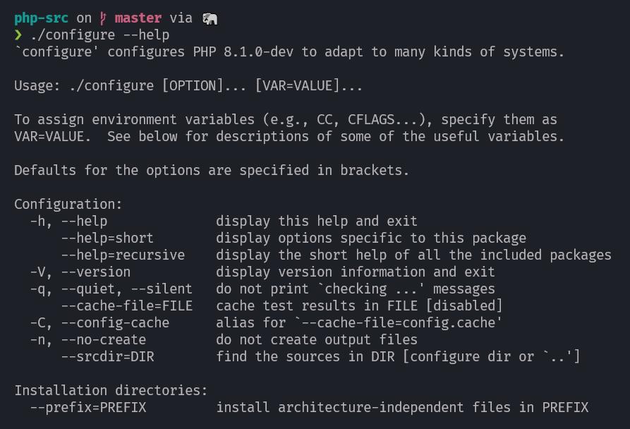 ./configure - help