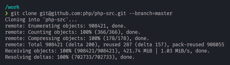 Compile PHP - git clone